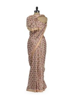 Baby Pink Phulkari Chiffon Saree - Home Of Impression