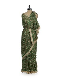 Elegant Green Phulkari Chiffon Saree - Home Of Impression