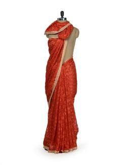Vibrant Orange Phulkari Chiffon Saree - Home Of Impression