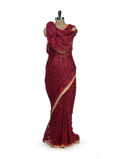 Red & Blue Phulkari Saree - Home Of Impression