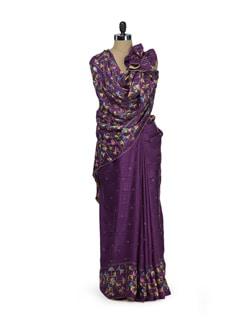 Chic Purple Phulkari Saree - Home Of Impression