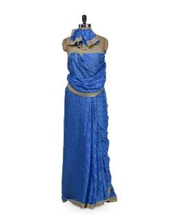 Bright Blue Phulkari Chiffon Saree - Home Of Impression