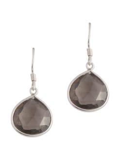 Silver Drop With Smokie Topaz Stone - Posy Samriddh