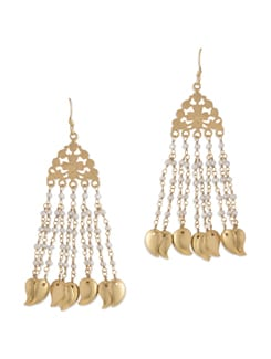 Silver Gold Plated Danglers With Leaflets And Pearls - Posy Samriddh