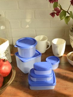 Blue Container Set With Lids- Set Of 15 - TRUST And GUESS
