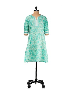 All Over Floral Jaal Green Kurta - KILOL