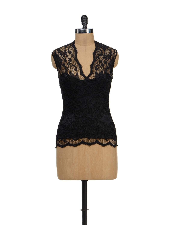 Stylish Black Lace Sleeveless Top - TREND SHOP