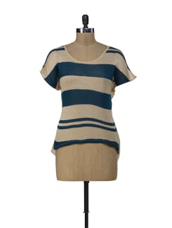 Beige And Teal Blue Top With Back Slit - ShopImagine