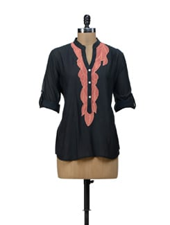 Trendy Black Embroidered Top - URBAN RELIGION