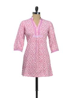 Bright Pink Printed Kurti - KILOL