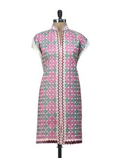 Phulkari Embroidered Semi Stiched Cotton  Kurti - Home Of Impression