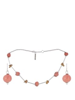 Red And BRown Stones Necklace With Earrings - Trinketbag