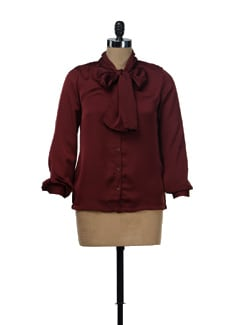 Maroon Satin Shirt - NUN
