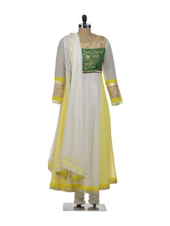 Designer Party Wear Suit- Yellow And White - Morpunc