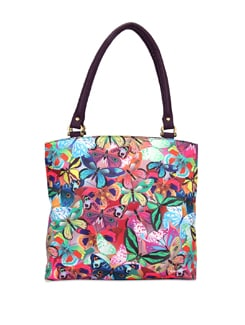 Butterfly Collage Leather Handbag - The Elephant Company