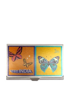Butterfly Stamps Steel Cardholder - The Elephant Company