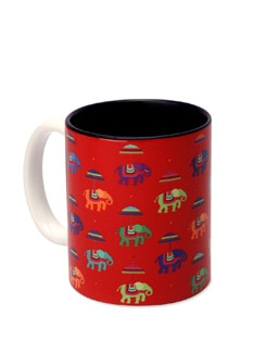 Ceramic Mug Flying Elephants Red - The Elephant Company