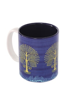 Blue Ceramic Mug Tree Warli - The Elephant Company