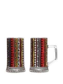 Beer Mugs S/2 Triangle Warli - The Elephant Company