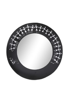 Black Metal Wall Mirror Warli - The Elephant Company