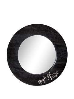 Black Wooden Wall Mirror Warli - The Elephant Company
