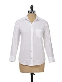 White Formal Button Down Shirt - Femella