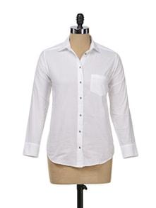 White Formal Button Down Shirt - Femella