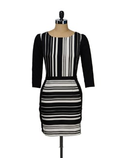 Dress In Monochromatic Stripes - I KNOW By Timsy & Siddhartha