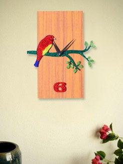Jewelled Bird On A Branch Clock - Zeeshaan