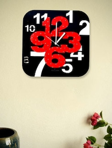 Red And Black Square Wall Clock - Zeeshaan
