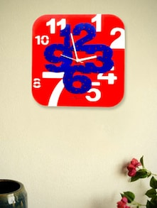 Red And Blue Square Wall Clock - Zeeshaan