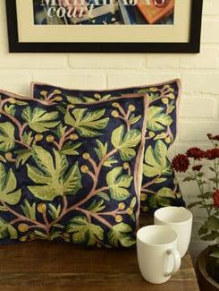 Navy & Green Floral Cushion Covers - Kashmir Designer Atrs