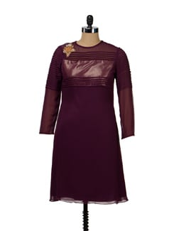 Pleated Wine Dress - Shilpi K