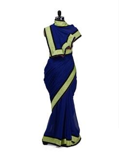 Elegant Blue & Lime Green Saree - HERMOSEAR