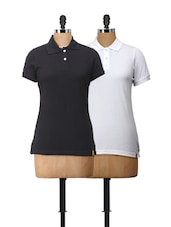 Essential Polo T-Shirts In Black And White - Campus Sutra