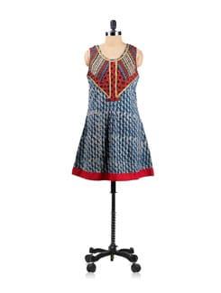 Block Printed Sleeveless Tunic With Printed Neckline - EKAA