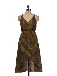 Snake Print Asymmetrical Dress - Tops And Tunics