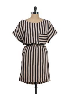 Striped Beige Dress - Tops And Tunics