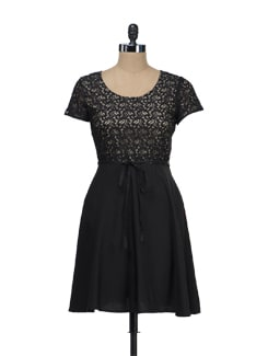 Black Lace Skater Dress - Tops And Tunics