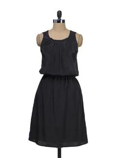 Pleated Black Dress - Tops And Tunics