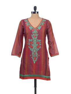 Embroidered Red Kurti - NEE