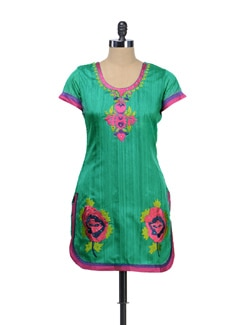 Embroidered Green Kurti - NEE