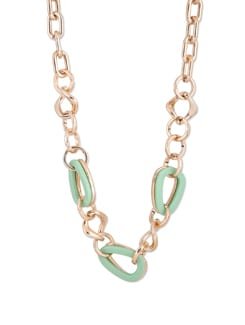 Mint Green And Gold Interlocked Long Necklace - F.A.D.