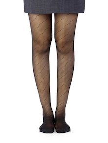 Black Stitch Patterned Stockings - Miss Chase