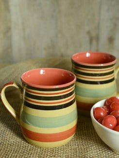 Multi-Stripped Potbelly Mug - Set Of 2 - Cultural Concepts