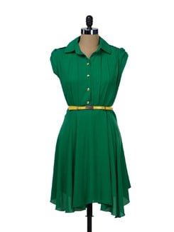 Emerald Shirt Dress - TREND SHOP