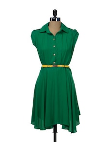 Emerald Shirt Dress - TREND SHOP
