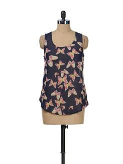 Printed Floral Sheer Top - TREND SHOP