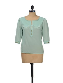 Rivetted Mint Green Top - TREND SHOP