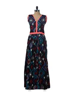Black Tie & Dye Print Maxi Dress - Nangalia Ruchira
